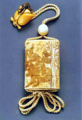 象牙柿の木猿彫図印籠江戸時代作印籠美術館
